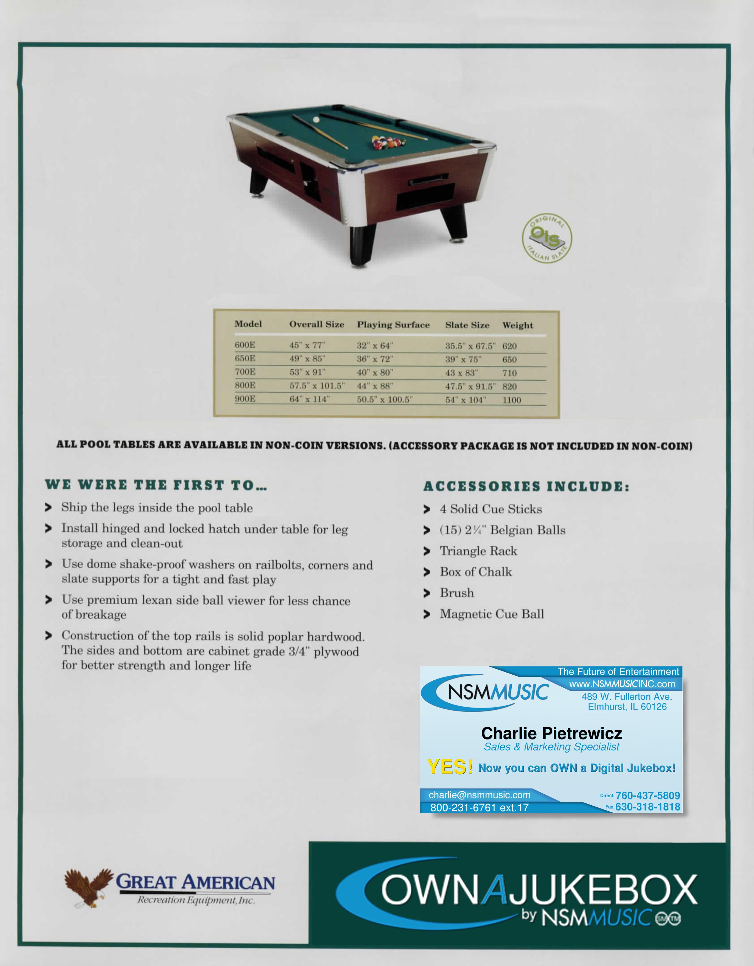 Great American Eagle Pooltable Ball Return OwnAJukebox Digital - Great american pool table