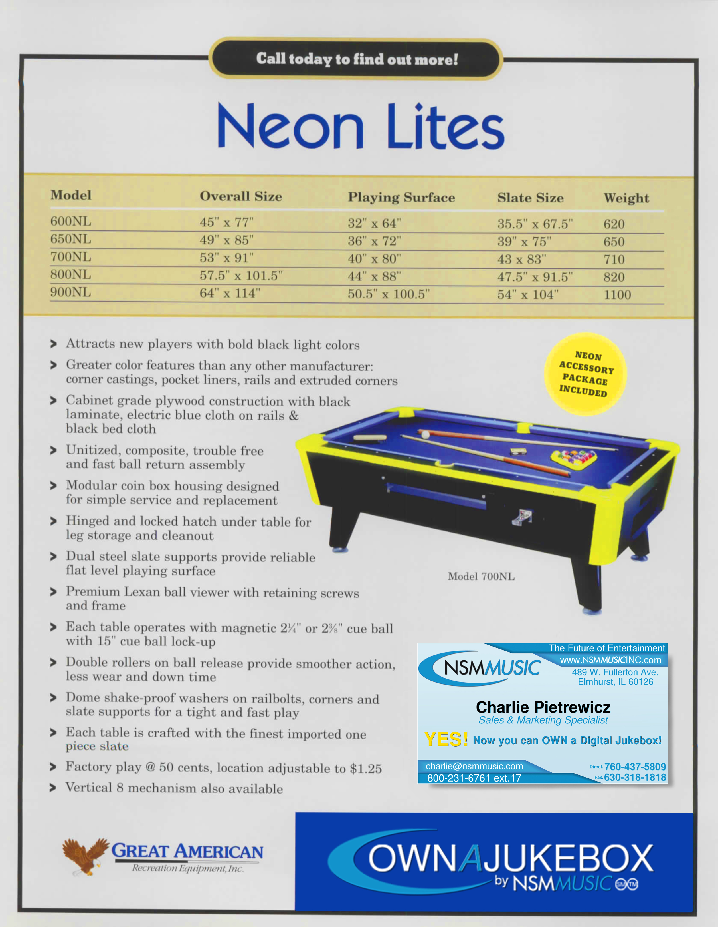 Great American Neon Lights OwnAJukebox Digital Internet Jukebox - Great american pool table