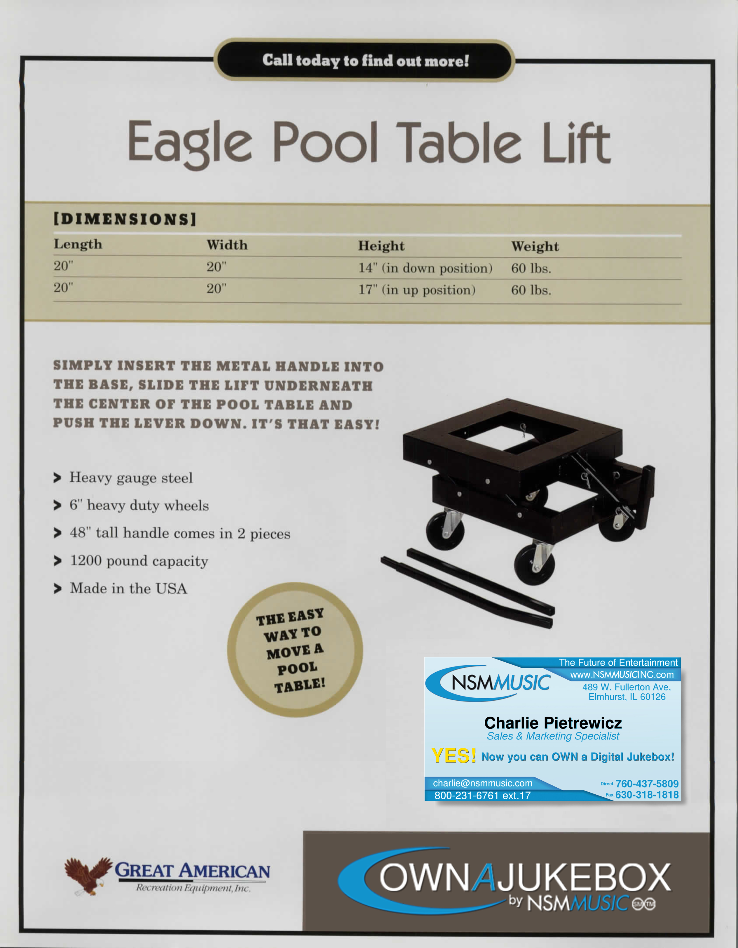 Pool Table Lift